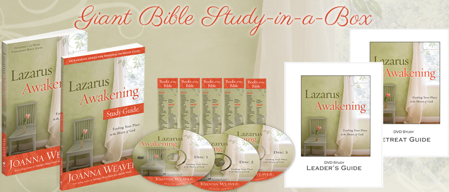 Lazarus Awakening Bible-Study-in-a-box-Giveaway at Joannaweaverbooks.com