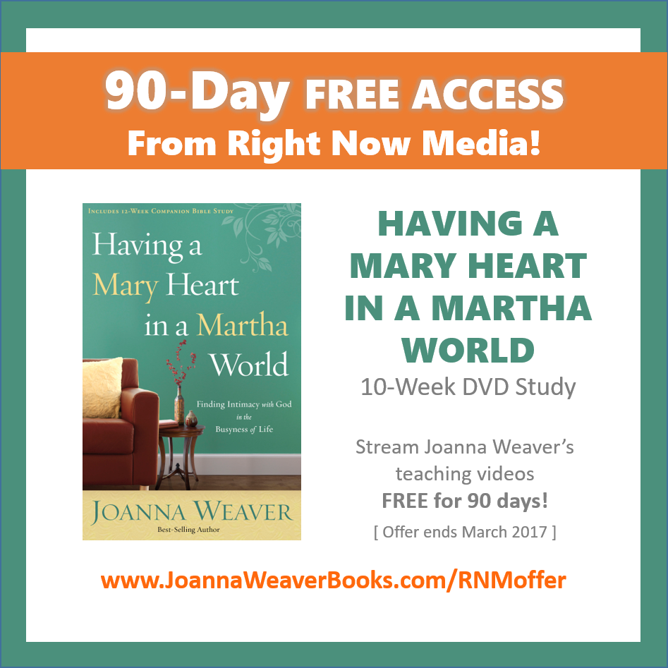 "Looking for a DVD Bible study? Check out this FREE ""90-Day Access"" for Having a Mary Heart in a Martha World. Available until MARCH 2017. Learn more and sign up at bit.ly.com/RNMoffer"